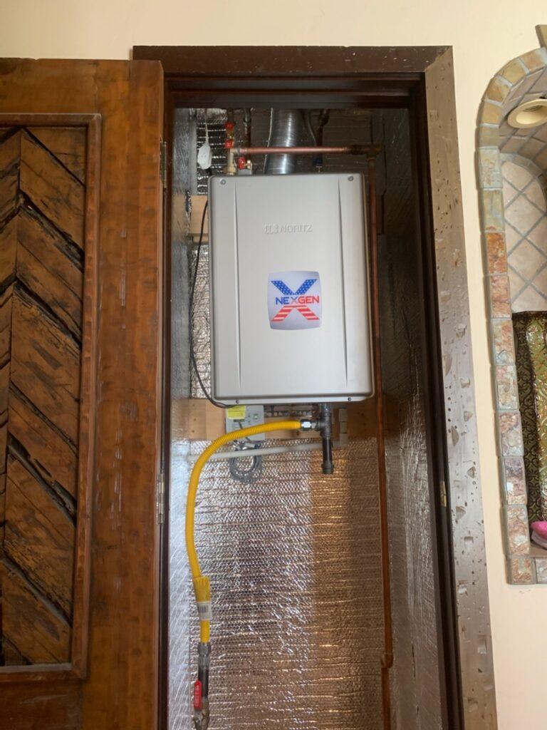 NeXgen Tankless Water Heater in Cabinet