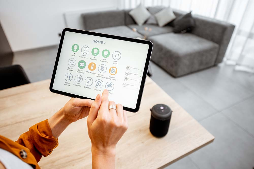 smart home options on tablet