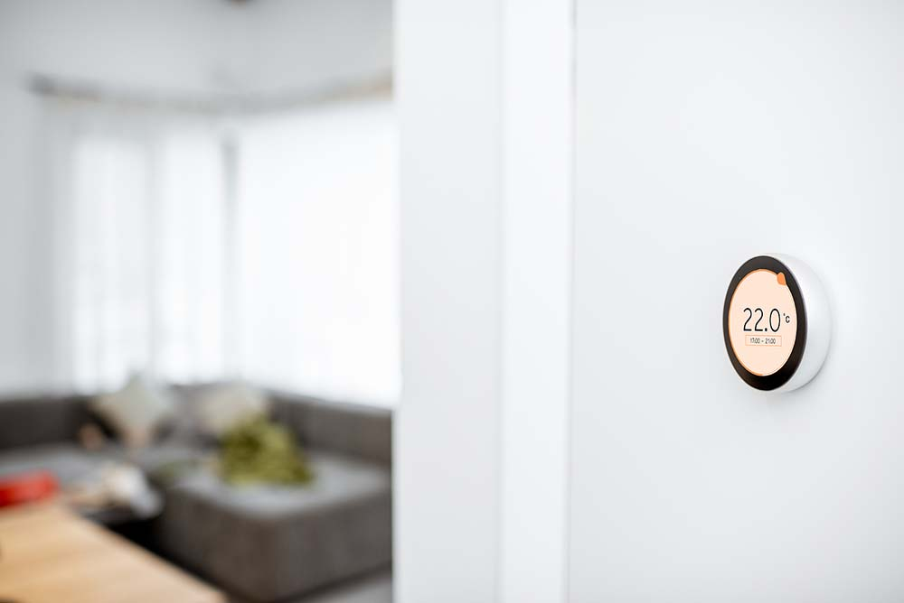 smart thermostat in living room