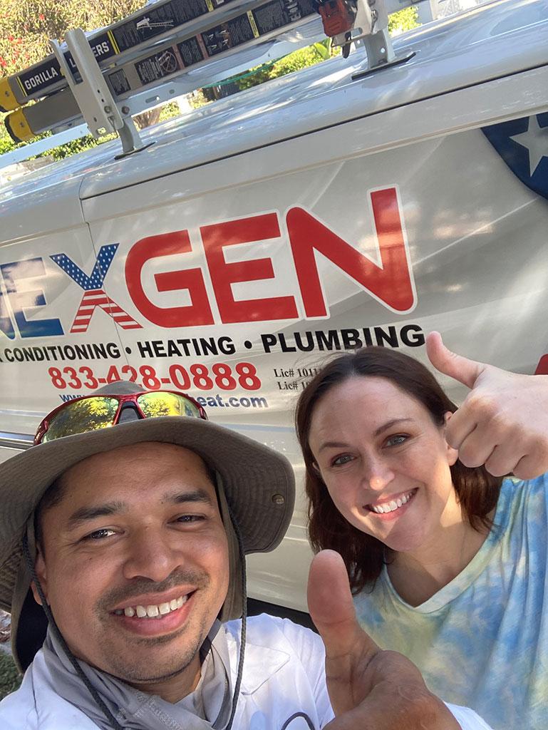 happy customer in front of nexgen van